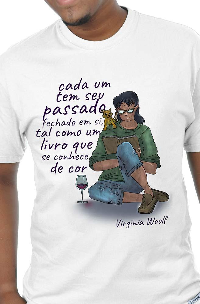 Camiseta Branca Somos livros: Virginia Woolf