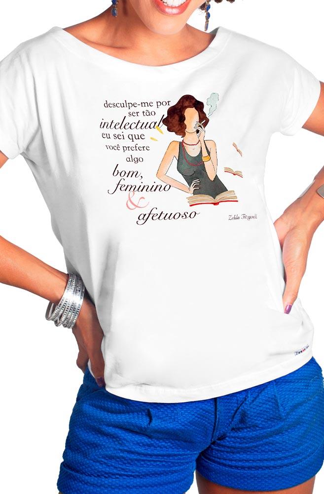 Camiseta Branca Tão Intelectual de Zelda Fitzgerald