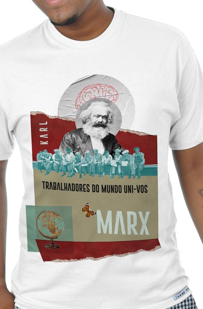 Camiseta Branca Trabalhadores do Mundo de Karl Marx