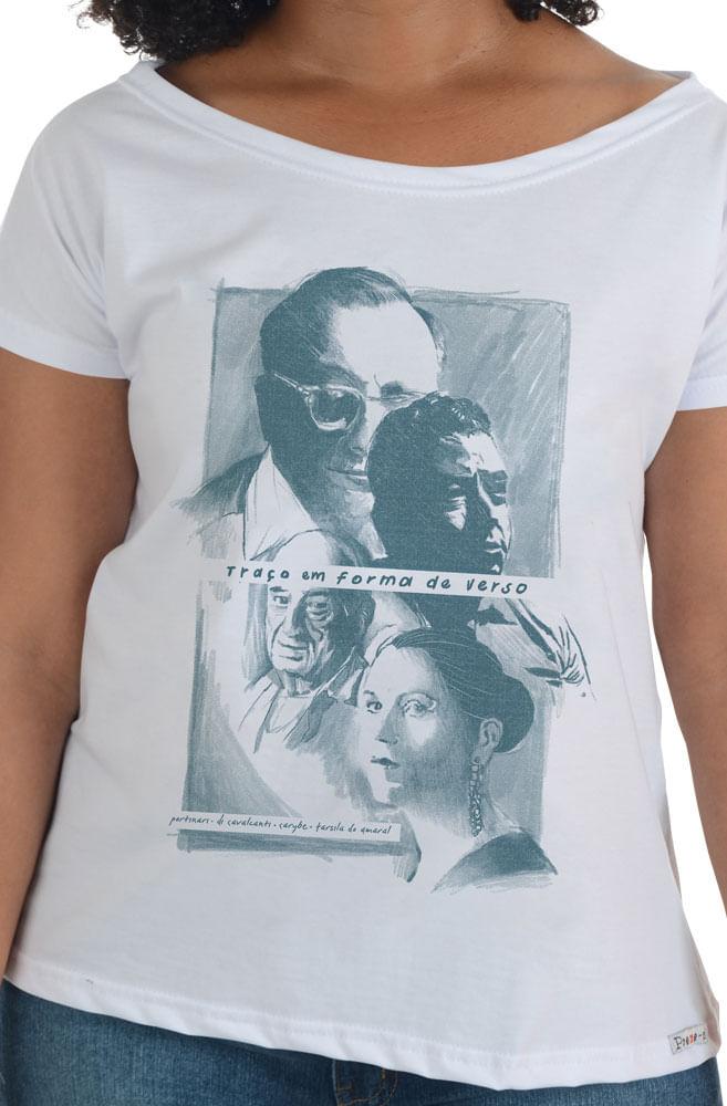 Camiseta Branca Traços e Versos