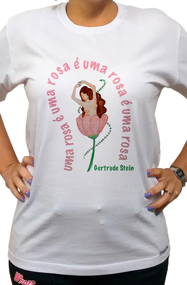 Camiseta Branca Uma Rosa de Gertrude Stein