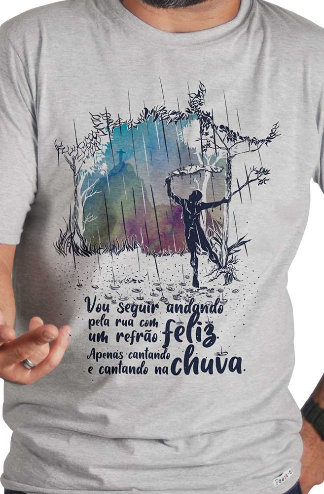 Camiseta Cinza Cantando na chuva