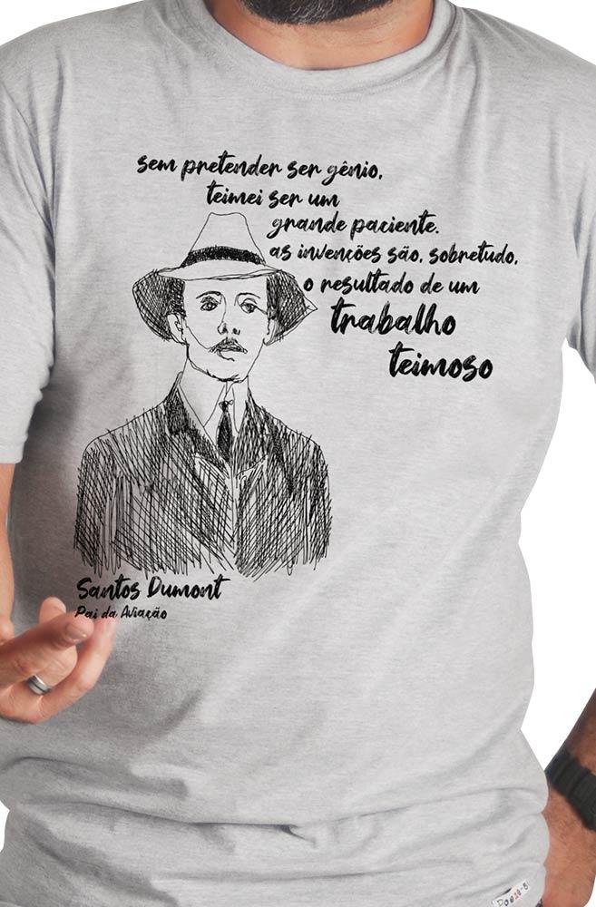 Camiseta Cinza Dumont, pai da aviação
