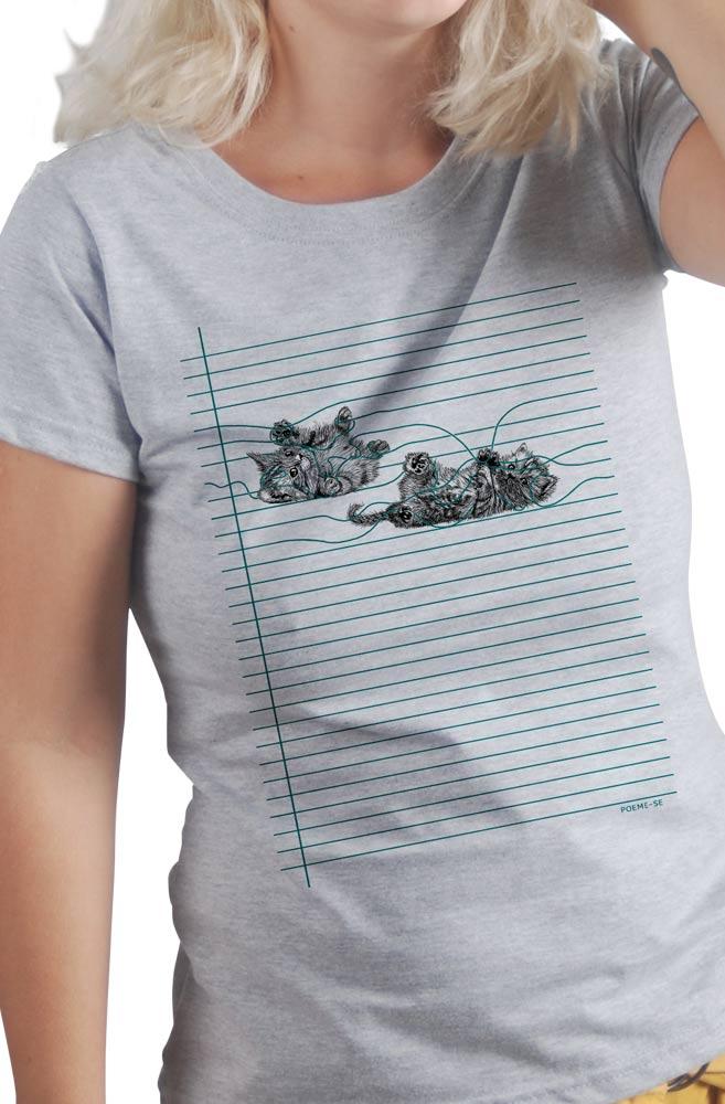 Camiseta Cinza Gato Pautado