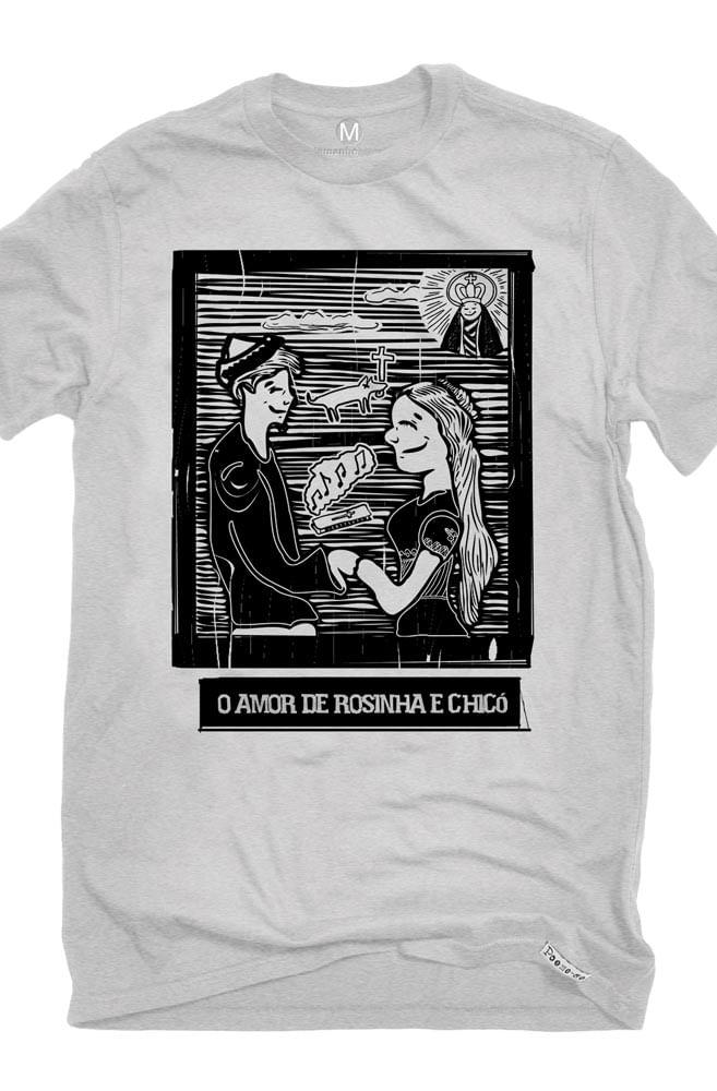 Camiseta Cinza O Amor em Cordel: Chicó e Rosinha