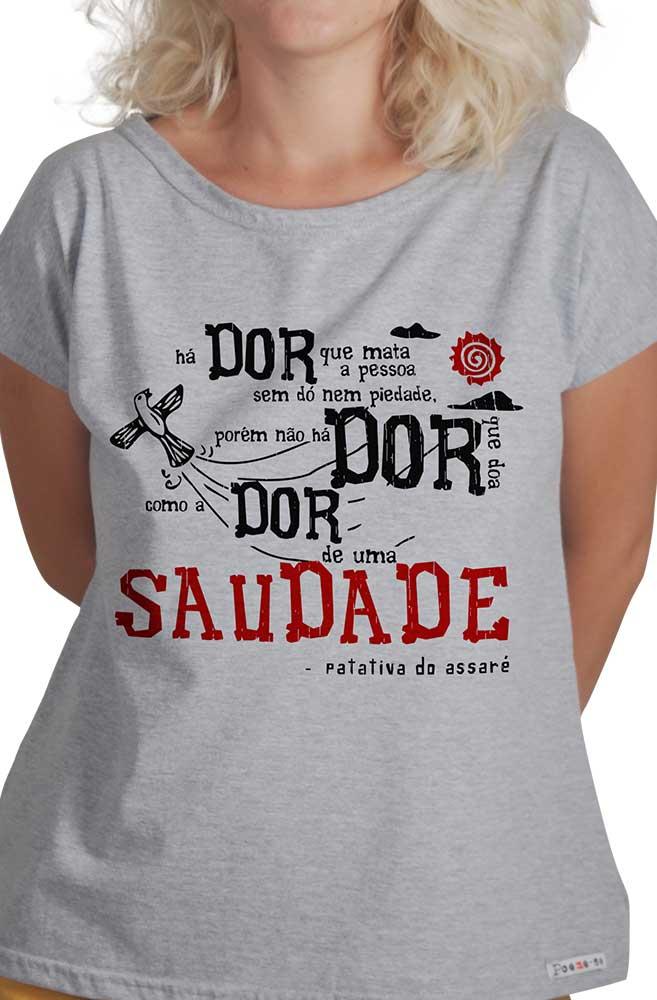 Camiseta Cinza O Amor em Cordel: Patativa do Assaré
