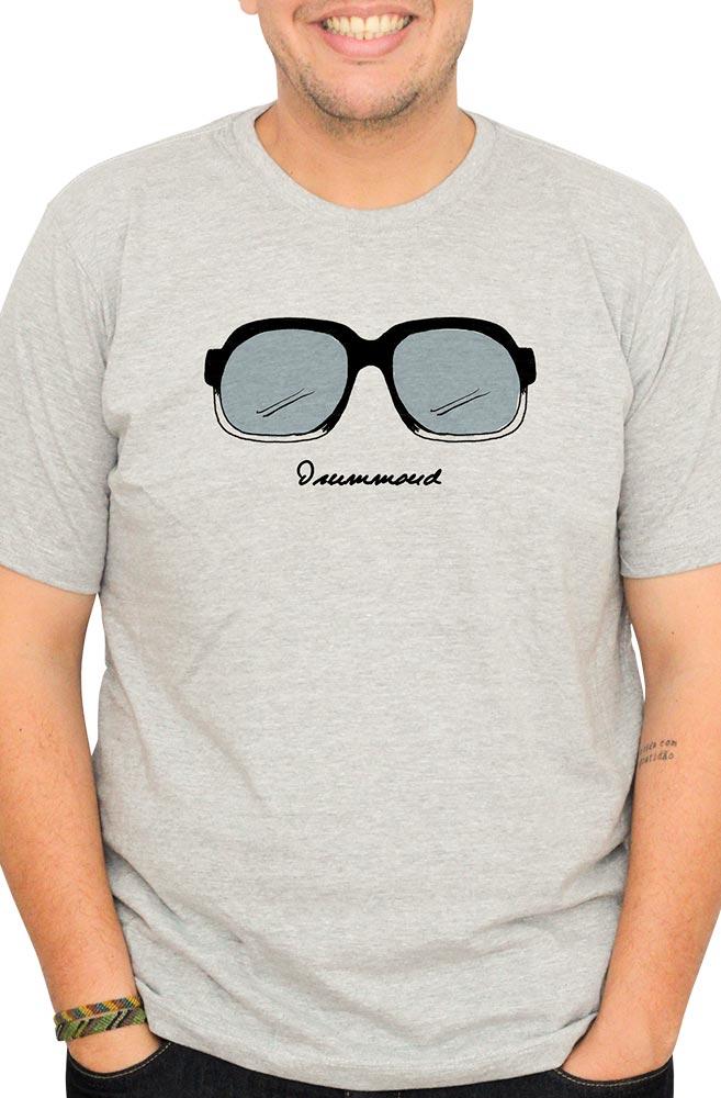 Camiseta Cinza Óculos Drummond