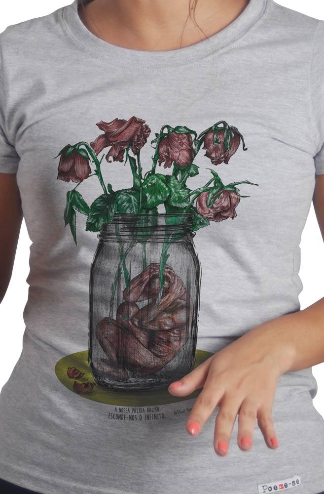 Camiseta Cinza Pálida Razão