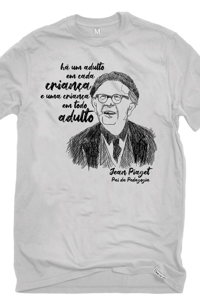 Camiseta Cinza Piaget, pai da pedagogia