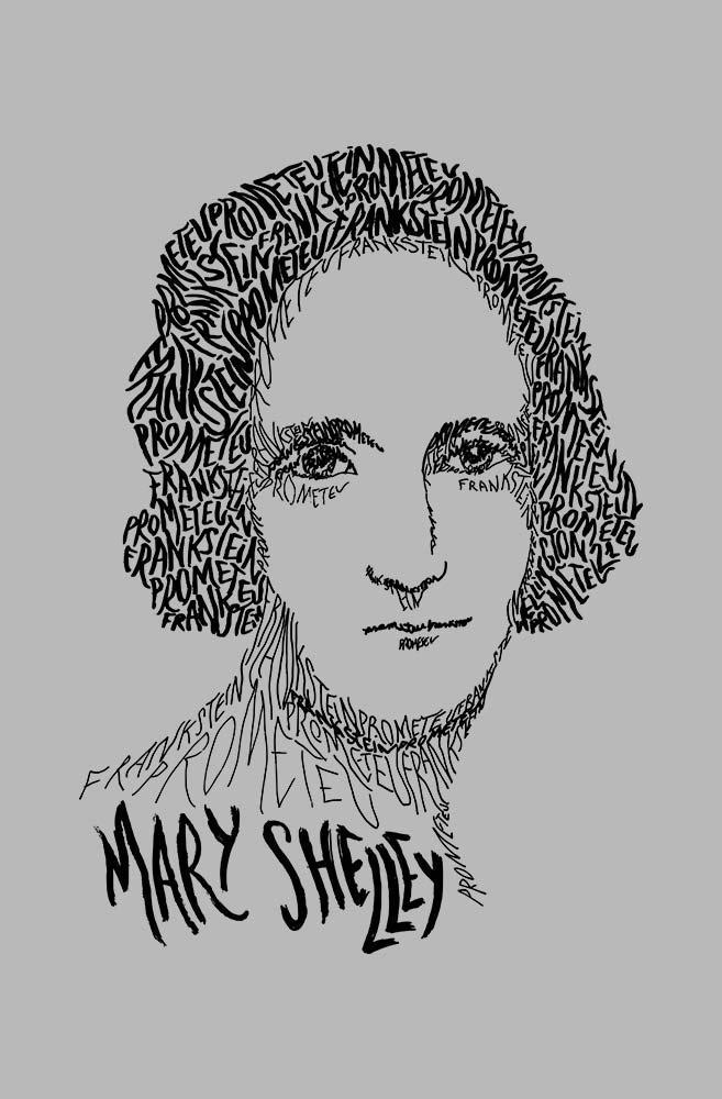Camiseta Cinza Rostos Letrados: Mary Shelley