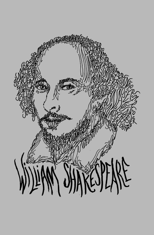 Camiseta Cinza Rostos Letrados: William Shakespeare
