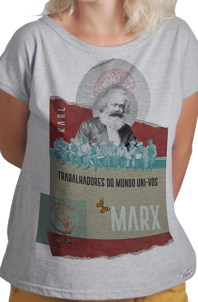 Camiseta Cinza Trabalhadores do Mundo de Karl Marx