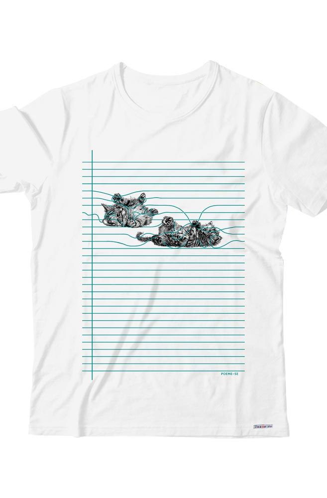 Camiseta Infantil Branca Gato Pautado