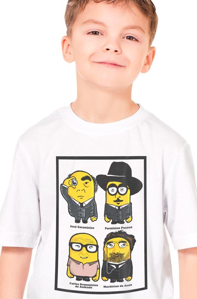 Camiseta Infantil Branca Minions Escritores