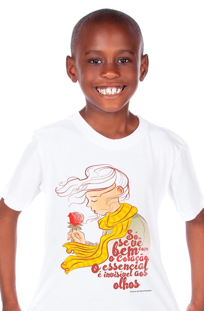Camiseta Infantil Branca O essencial é invisível aos olhos
