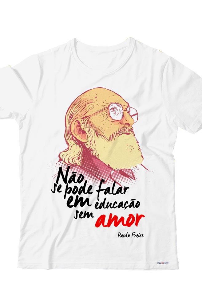 Camiseta Infantil Branca Paulo freire