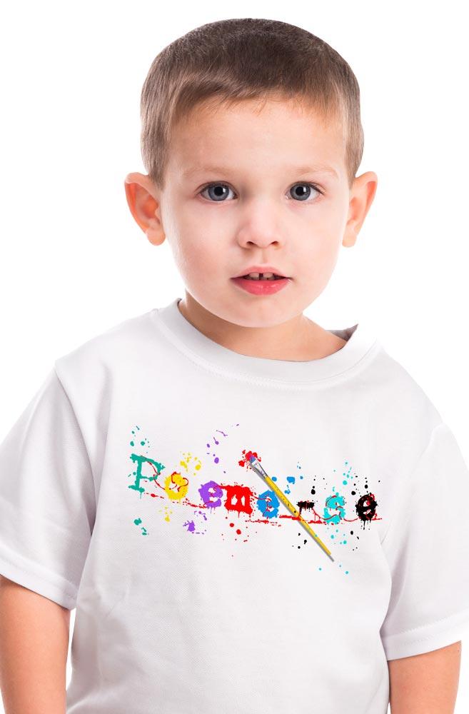 Camiseta Infantil Branca Poeme-se Tintas e Pinceis