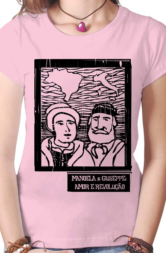 Camiseta Rosa O Amor em Cordel: Anita e Giuseppe