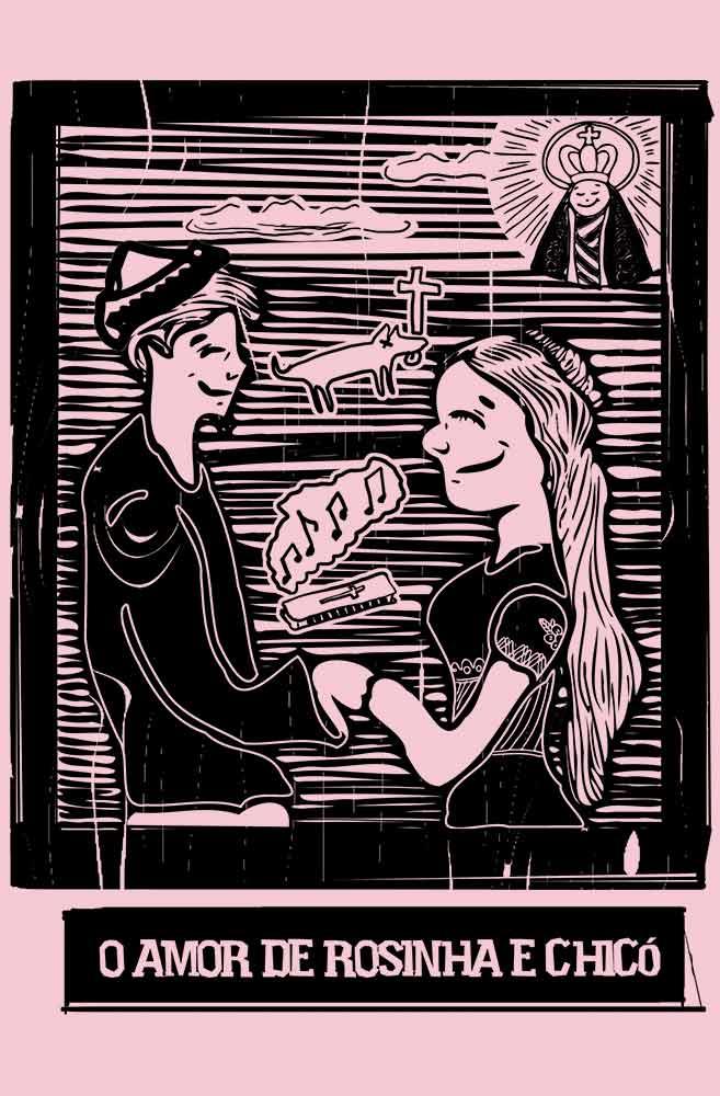 Camiseta Rosa O Amor em Cordel: Chicó e Rosinha