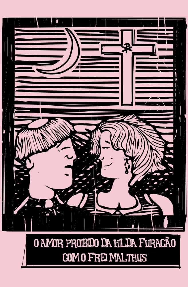 Camiseta Rosa O Amor em Cordel: Hilda Furacão e Frei Malthus