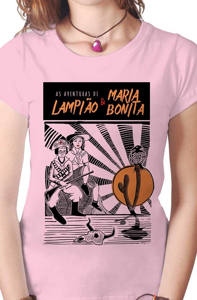 Camiseta Rosa O Amor em Cordel: Lampião e Maria Bonita
