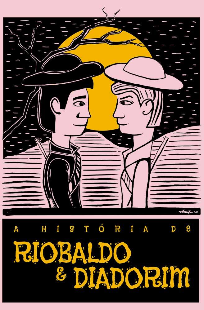 Camiseta Rosa O Amor em Cordel: Riobaldo e Diadorim