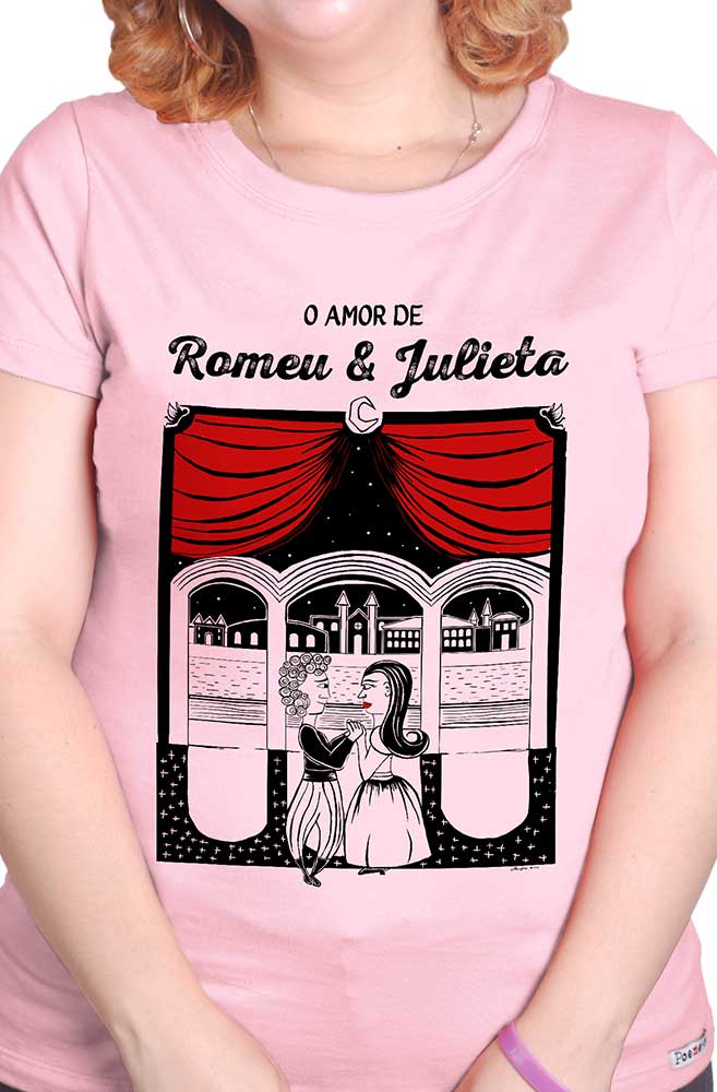 Camiseta Rosa O Amor em Cordel: Romeu e Julieta