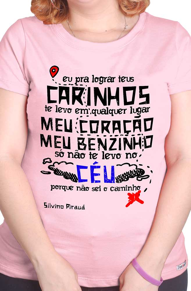 Camiseta Rosa O Amor em Cordel: Silvino Pirauá