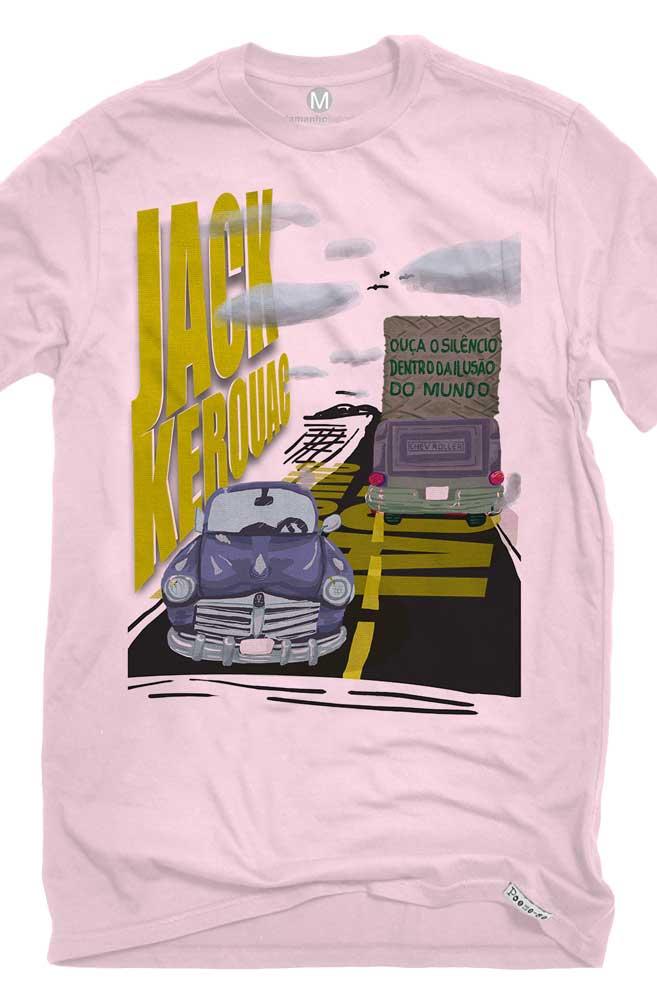 Camiseta Rosa O Silêncio de Jack Kerouak