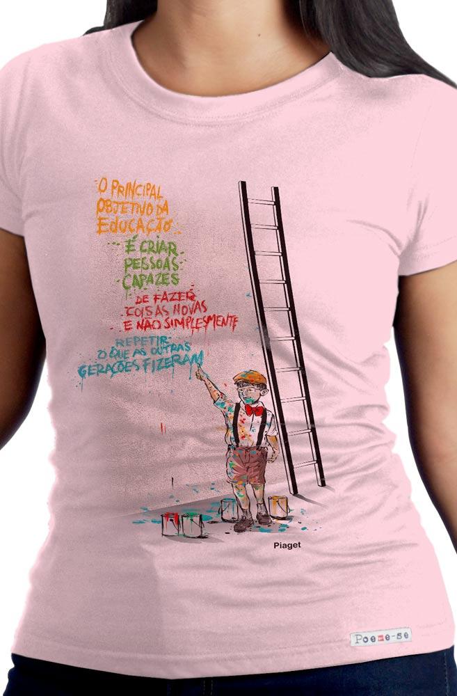 Camiseta Rosa Objetivo da Educação