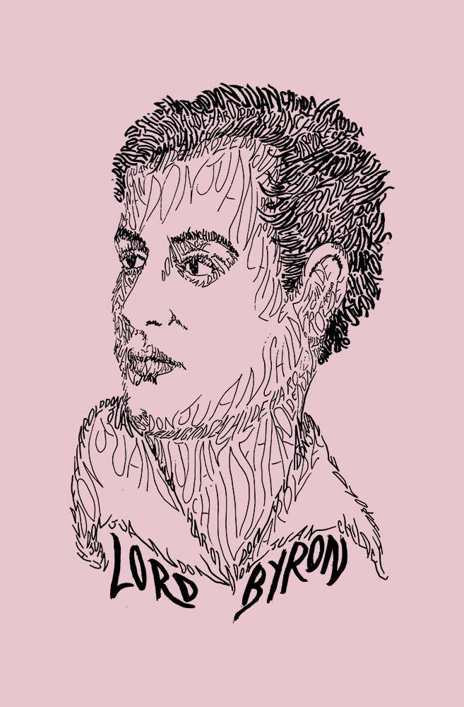 Camiseta Rosa Rostos Letrados: Lord Byron