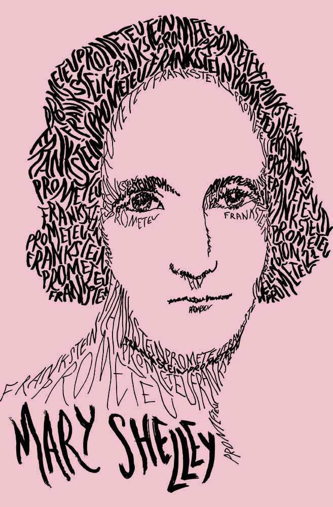 Camiseta Rosa Rostos Letrados: Mary Shelley