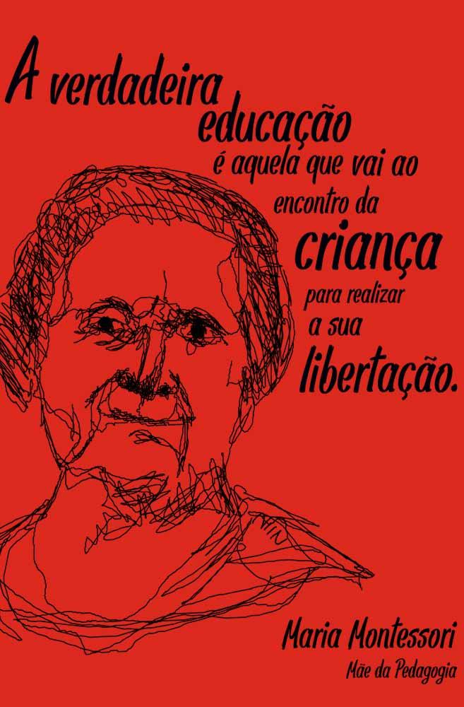 Camiseta Vermelha Montessori, Mãe da Pedagogia