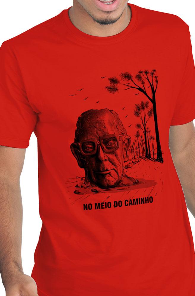 Camiseta Vermelha No meio do caminho tinha um poeta