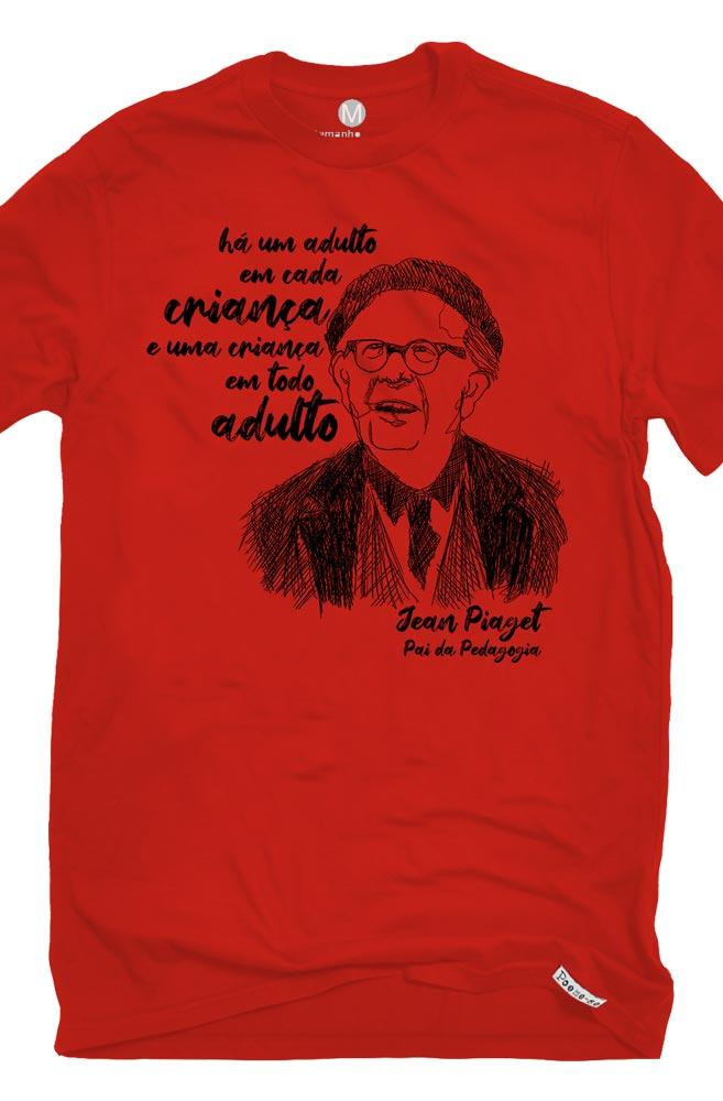 Camiseta Vermelha Piaget, pai da pedagogia