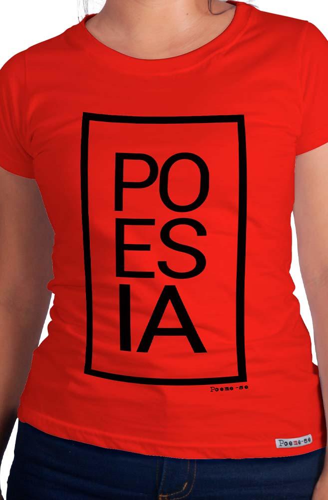 Camiseta Vermelha Po-es-ia