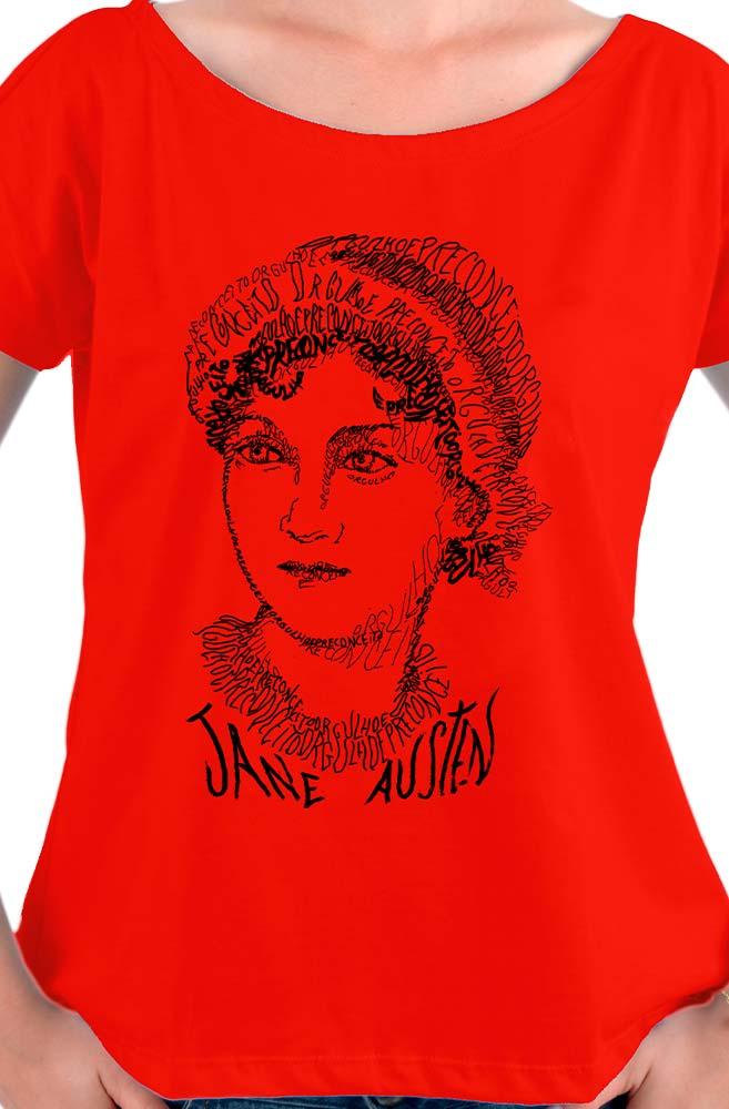 Camiseta Vermelha Rostos Letrados: Jane Austen
