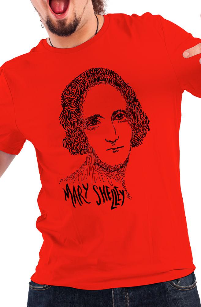 Camiseta Vermelha Rostos Letrados: Mary Shelley
