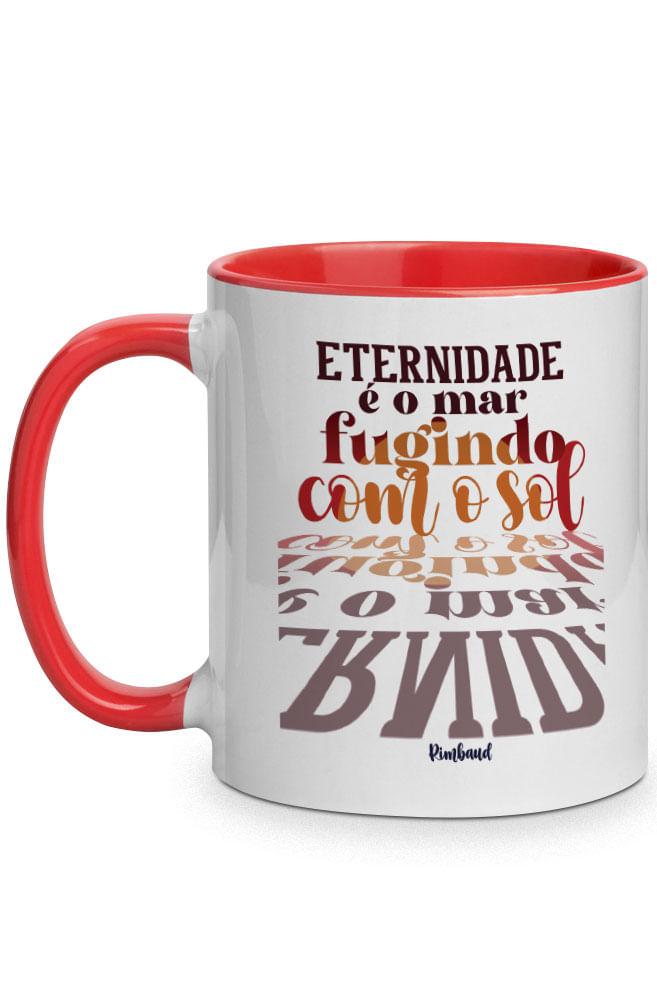 Caneca A eternidade de Rimbaud com alça vermelha