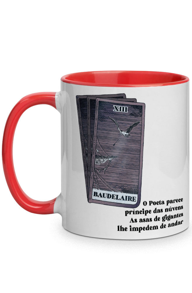Caneca As asas de Baudelaire com alça vermelha