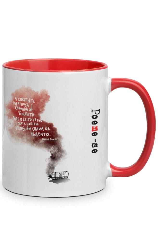 Caneca Bertolt Brecht com alça vermelha