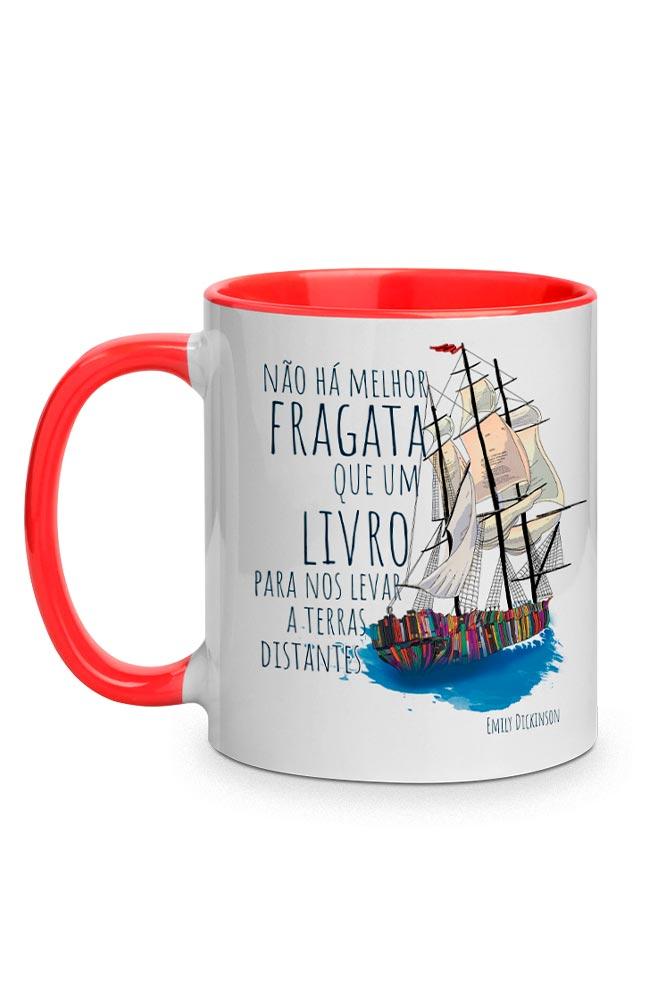 Caneca Fragata literária: Emily Dickinson com alça vermelha
