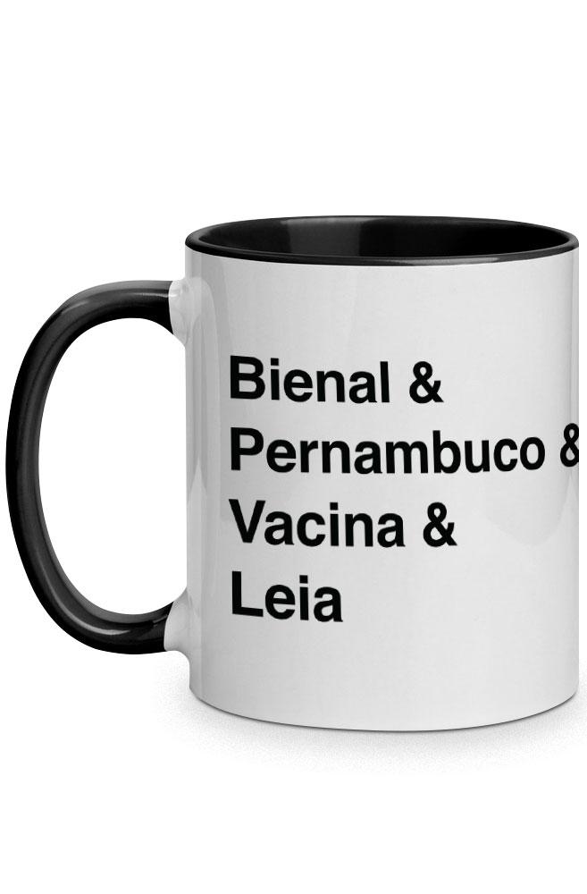 Caneca Helvética Bienal de Pernambuco com alça preta