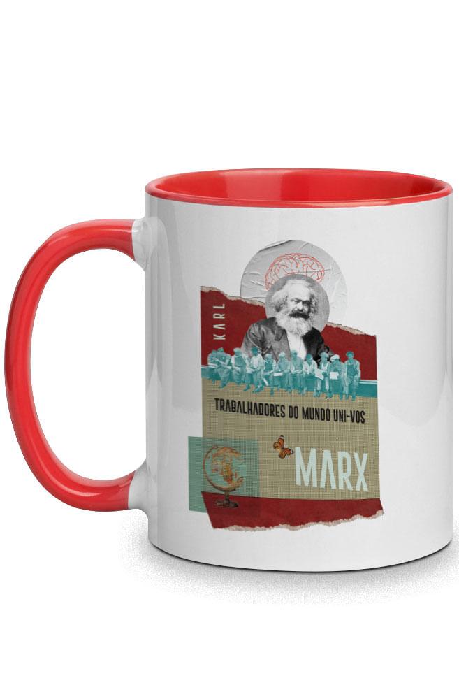 Caneca Karl Marx socialista com alça vermelha