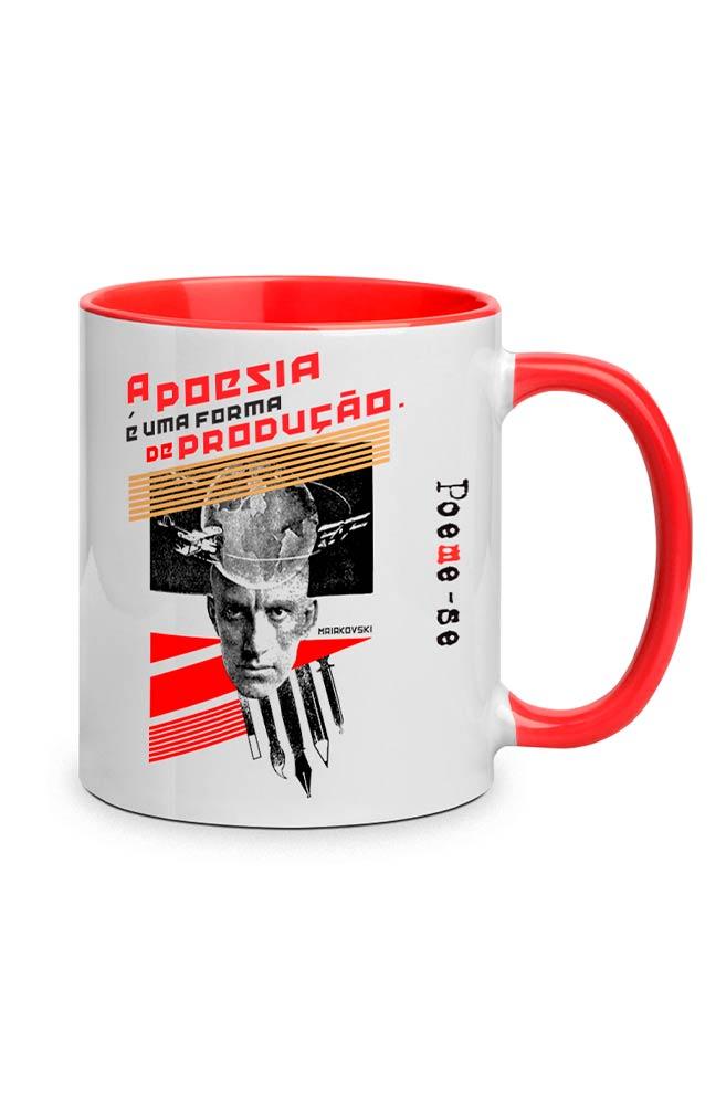 Caneca Maiakovski revolucionário com alça vermelha