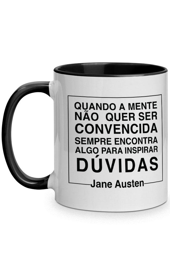 Caneca Negacionismo por Jane Austen com alça preta