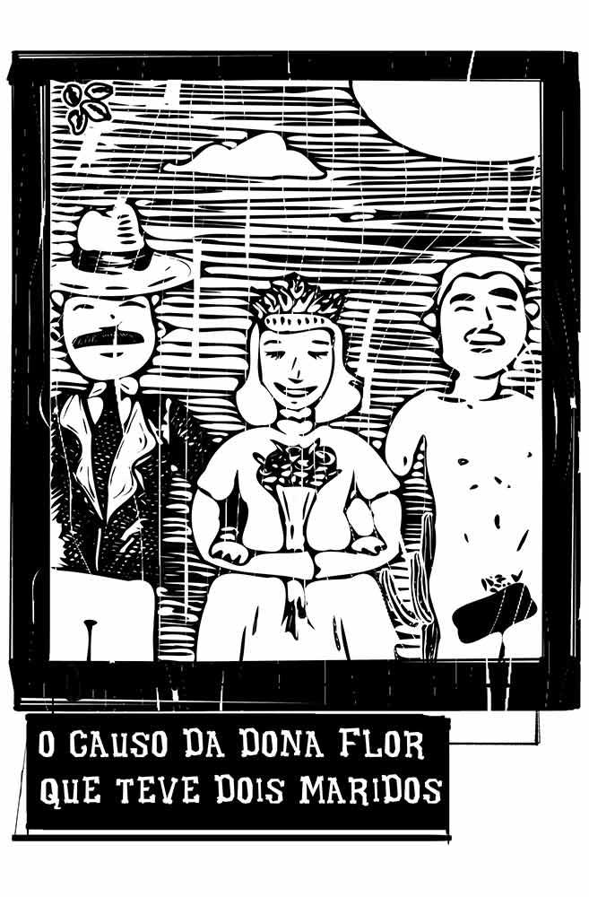 Caneca O Amor em Cordel: Dona Flor, Vadinho e Teodoro