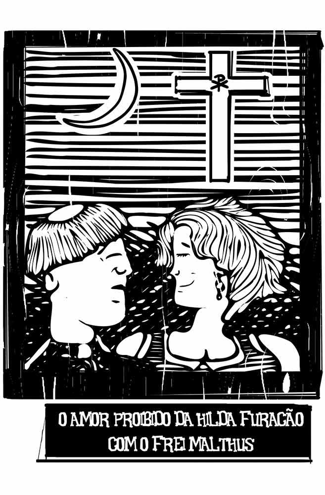 Caneca O Amor em Cordel: Hilda Furacão e Frei Malthus
