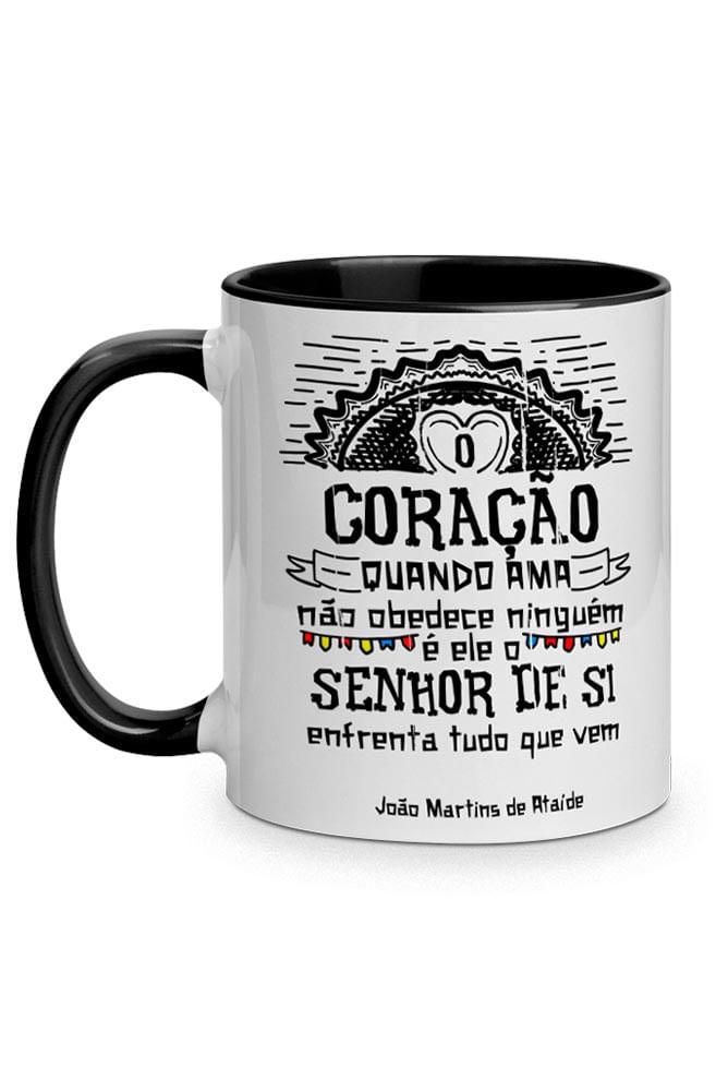 Caneca O Amor em Cordel: Martins de Ataíde com alça preto