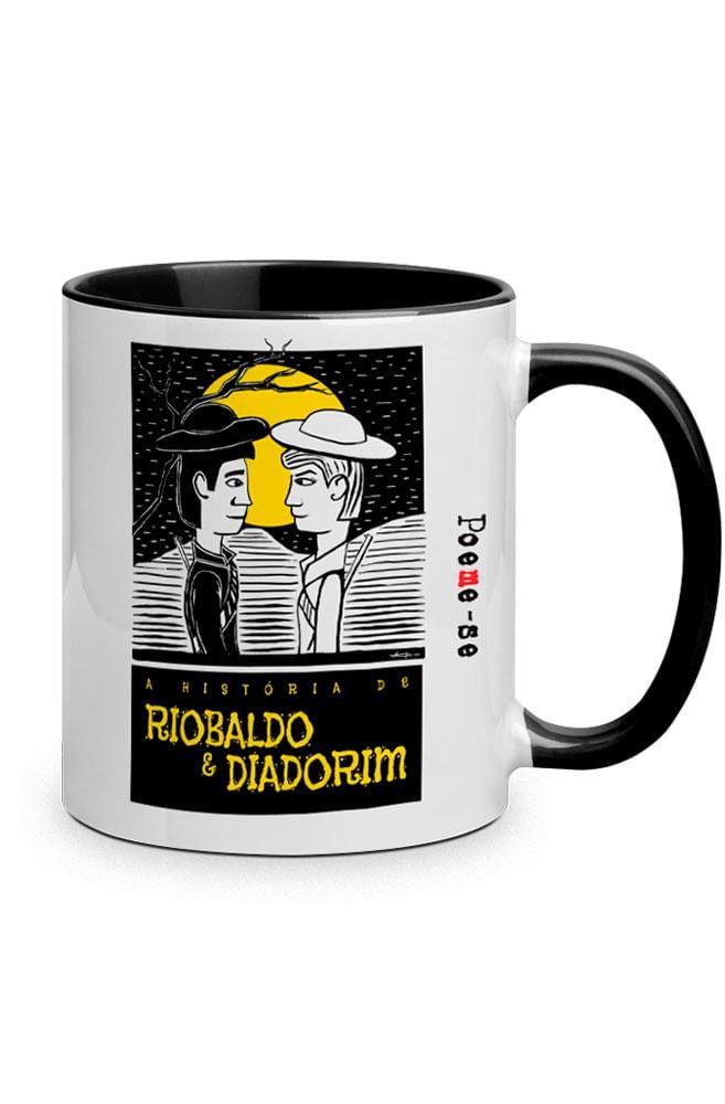 Caneca O Amor em Cordel: Riobaldo e Diadorim com alça preto